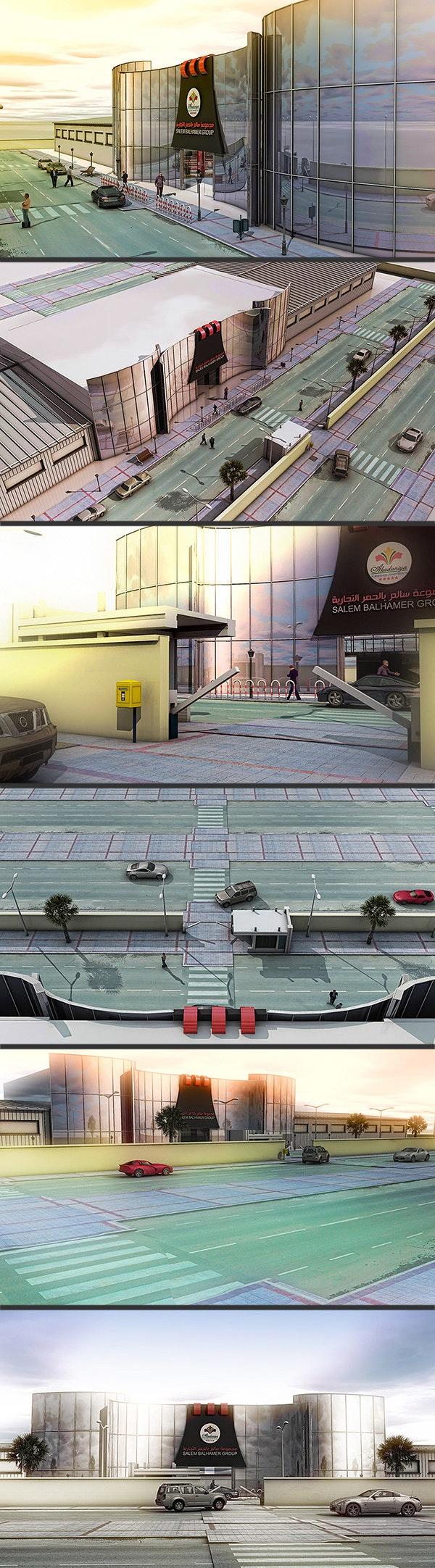 تصميم 3D | واجهة مصنع ستراكشر - كلادينج