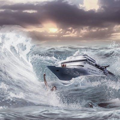 دمج سفينة وسط امواج