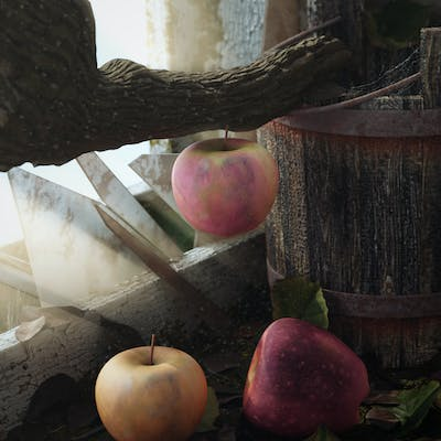Old Bucket and Apple/ Blender2.83